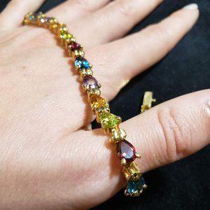 14K Gold Pear Cut Rainbow Tennis Bracelet QVC